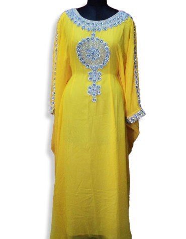 African Party Wear Long Sleeve Kaftan Dresses With Silver Stone Work