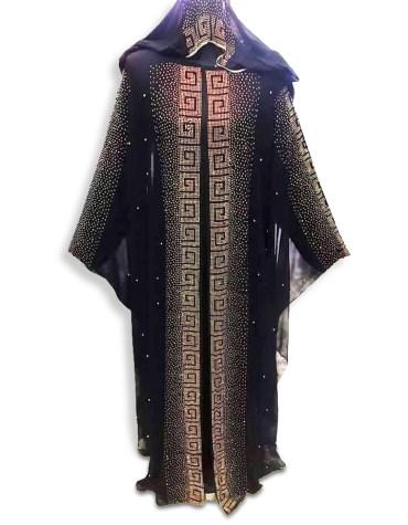 African Abaya Gold Work Material Moroccan Party Wear Dubai kaftan