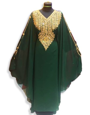 African Attire Golden Embroidery Dubai Kaftan Dresses for Women's Party Wear