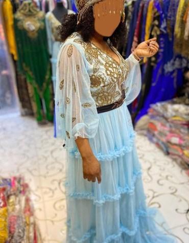 African Women Tulle Golden Bridesmaid Diamond Sparkling Stone Evening Dubai kaftan