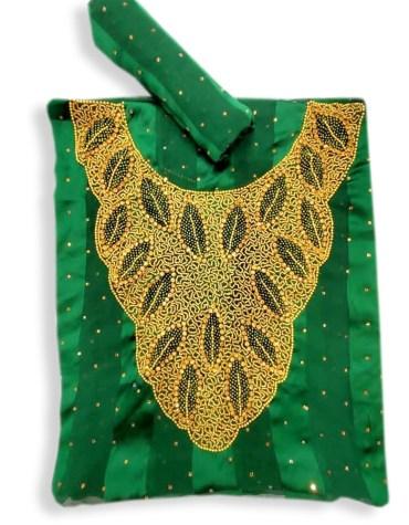 African Swiss Golden Moroccan Beaded Women Dress Material