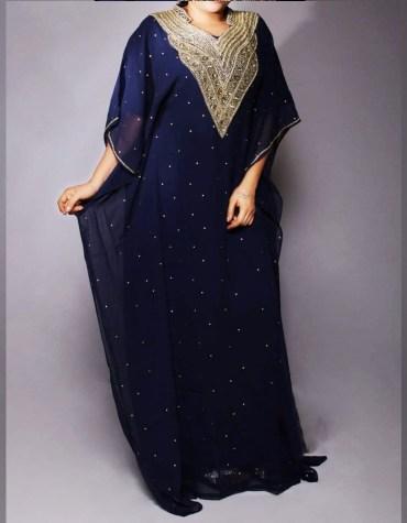 Fancy Evening Gown Party Wear With Premium Rhinestone Work Kaftan Dress For Women