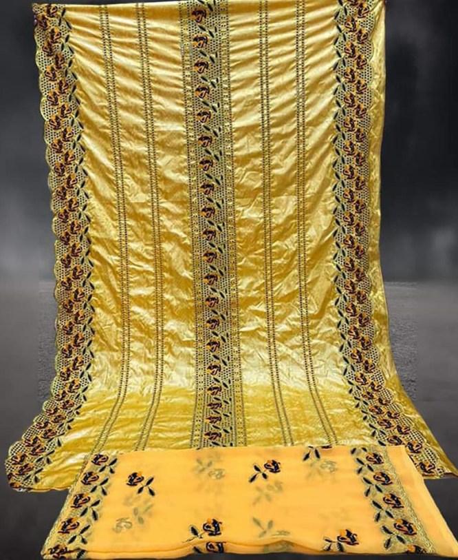 Latest Designer African Beaded Embroidery Work Satin Slik Dress Material For Women