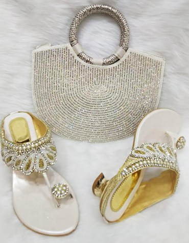 Designer Golden Zari Work & Ivory Moti Handicraft Clutch Bag For Women