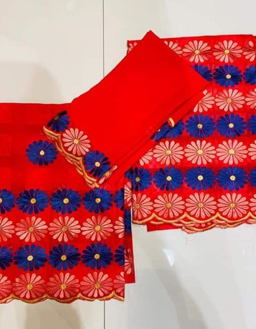 African Swiss Voile Cotton Designer Cotton 3 Piece Embroidery Dress Material For Women