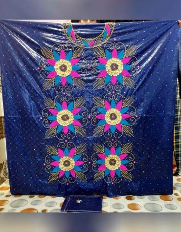 African Attire Floral Dress 100% Super Magnum Gold Getzner Riche Bazin