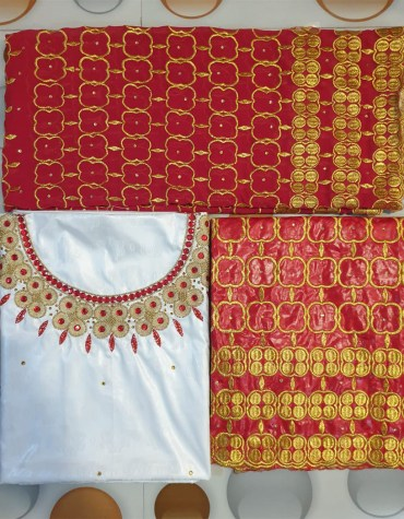 Golden Embroidery with Pearl and Beads 100% Super Magnum Gold Getzner Riche Bazin