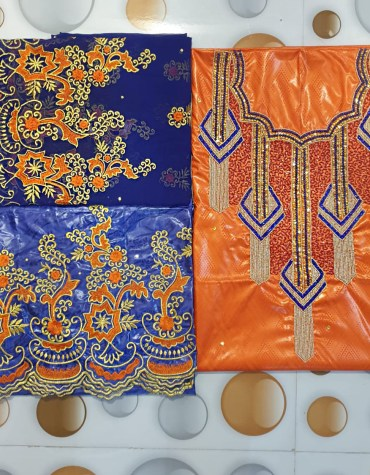 African Embroidery with Golden Beads 100% Super Magnum Gold Getzner Riche Bazin