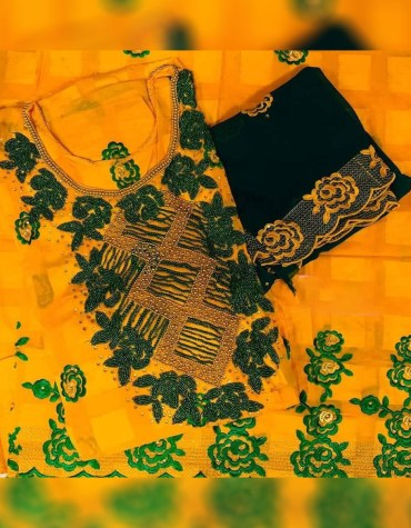 Swiss Voile Cotton African Attire Dress with green and gold beaded work
