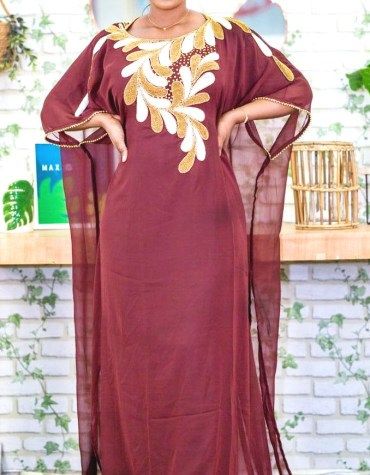 Chiffon Kaftan Designer Gown with Golden and White Pipe Beads Work for Women