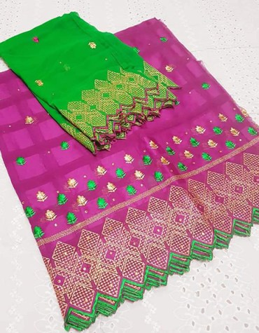 Swiss voile Cotton with Green and Gold Thread Embroidery Dress Material for Women