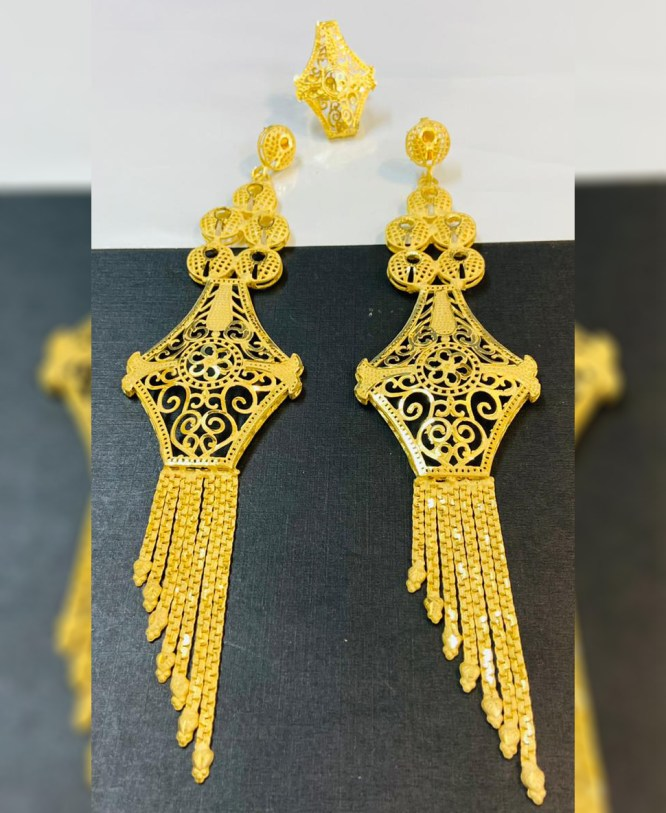 2 Gram Gold Latest Wedding Party Wear Earrings with Finger Ring for Women