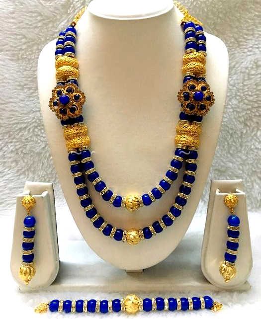 African Trendy Unique Design Necklace With Earrings Jewellery for Women
