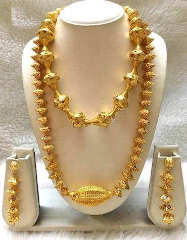 2 Gram Gold Plated Necklace With Earrings Jewellery Set Party Wear For Women