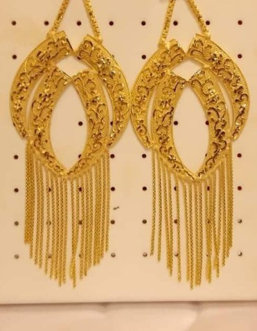 New African Formal Latest Wedding Party Wear Earrings 2 Gram Gold for Women