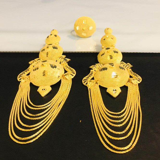 New African Designer Trendy Evening Party Wear Earrings with Finger Ring for Women