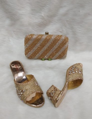 African Designer Crystal Work Hand Clutch & 1 Pair of Crystal And Tear Drop Designed Sandale