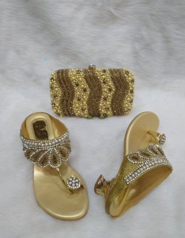 New African Designer Golden Pearl Clutch & 1 Pair Of Crystal worked Sandale