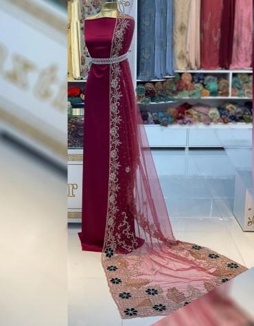 New African Trendy Wedding Beaded Designer Dress Material for Bridesmaid Women