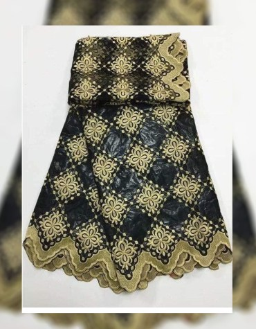 African Attire Dress Material For Women 100% Super Magnum Gold Getzner Rich Bazin
