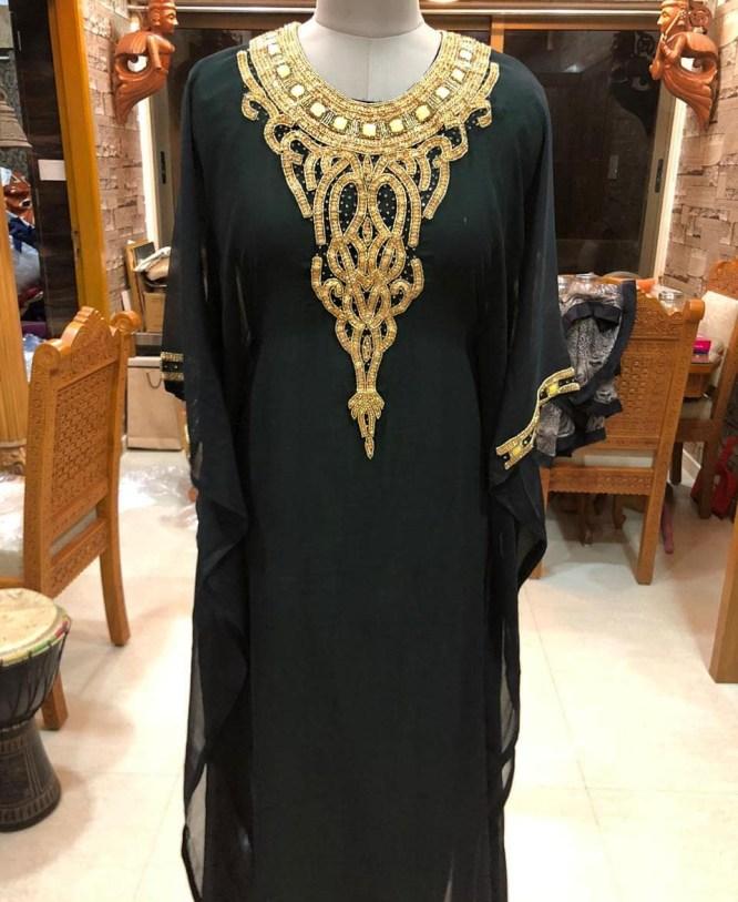 New African Dress Golden Crystal Stone Work Chiffon Kaftan For Women Party Wear