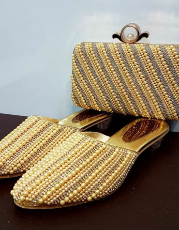 African Stylist handbags Golden Stone Chain & Pearl Designs on Shoes for Women's