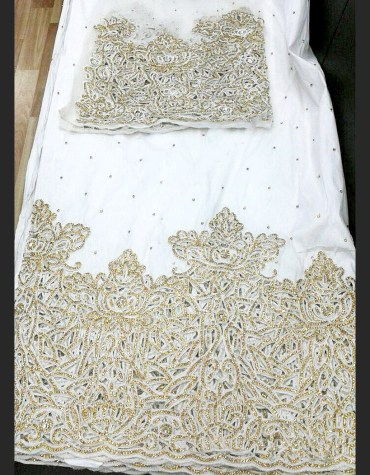 New Stylist Heavy Beaded Wedding Dress Material Silk Nigerian George Wrapper