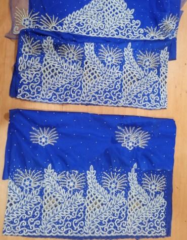 Beautiful Nigerian Bridesmaid Beaded Wrapper Taffeta George Fabric Dress Material