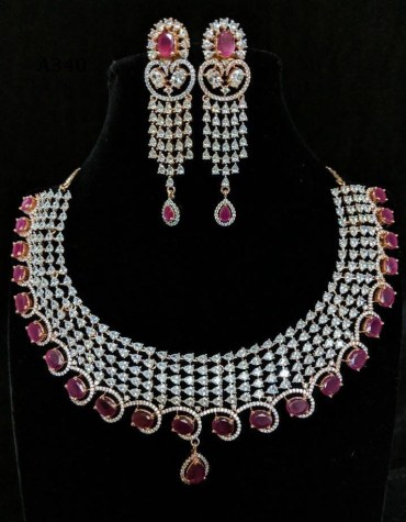 American Diamond Work Latest Necklace with Earrings Wedding & Party Jewelry Set