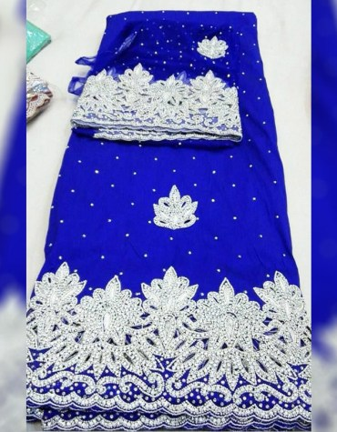 African Attire Heavy Beaded Wedding Dress Material Silk Nigerian George Wrapper