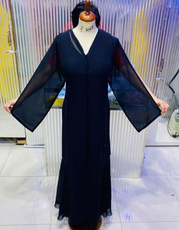 African Latest Long Sleeve Premium Embroidery Work Abaya Dresses for Women