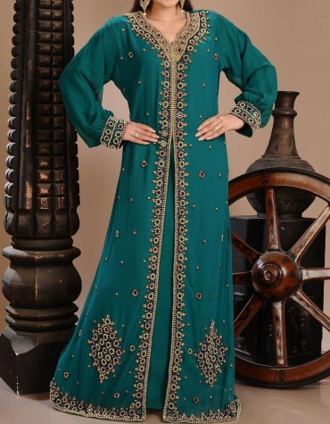 African Attire long Sleeve Party Wear Kaftan Embroidery Work Dress For Women