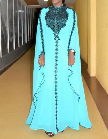 African Attire Wedding Moroccan Dress Black Beaded Dubai Kaftan for Women