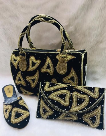 African Women heavy Crystal Hand Bag with Clutch And Pearl Shoe Combo Pack