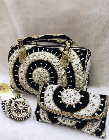 Women African Beaded Evening Hand Bag With Clutch And Pearl Shoe Combo Pack
