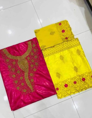 African 100% Super Magnum Gold Riche Bazin Embroidery Women Dress Material