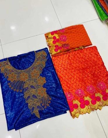 African Golden 100% Super Magnum Gold Getzner Bazin Dress Material For Women