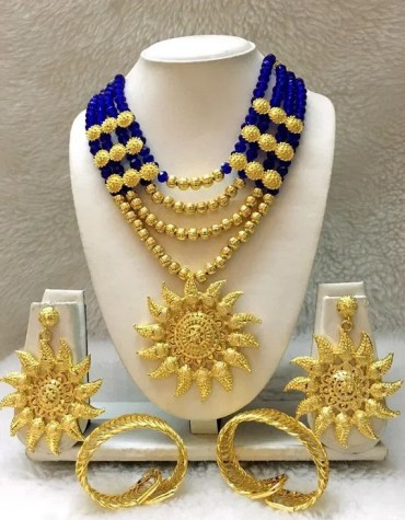 African Elegant Trendy Necklace With Earrings & Bangles Jewellery For Women
