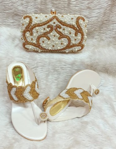 African Amazing Golden Moti & Color Stone Handbag Bag & Pearl Shoe For Women