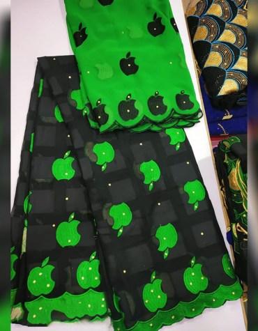 Unique Fancy Swiss Voile Cotton Dubai Embroidery Apple Design Dress Material