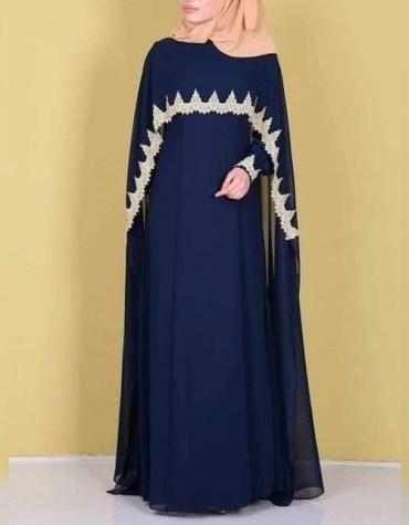 African Attire Women Long Sleeve Stylish Black Abaya Gold Beaded Moroccan Dubai