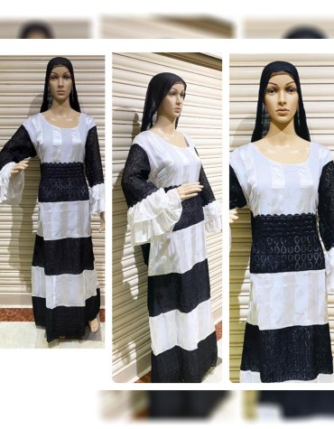 Designer Attire Cotton Lace Fabric Long Dress Stitched Evening Fancy Gown For Women