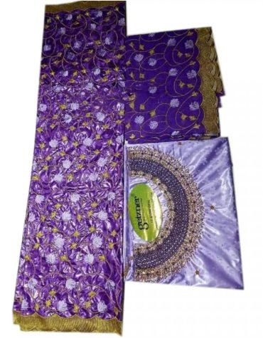 Latest African 100% Super Magnum Gold Riche Bazin Dress Material