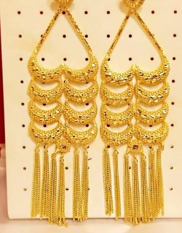 New Designer African Formal Latest Wedding Party Wear Earrings 2 Gram Gold for Women