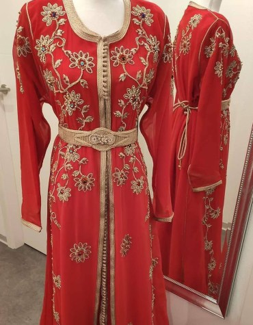 Elegant Formal Maxi Gown Gold Beaded Hand Work Fancy Kaftan Dresses for Women's Party