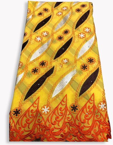 Swiss Voile Designer Cotton Piece Dubai Embroidery Dress Material-Yellow