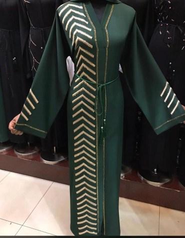 African Fancy Long Sleeve With Silver Rhinestones Moroccan For Women Dubai Abaya Kaftan