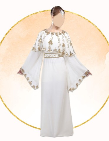African Attire Evening Golden Beaded Dubai Kaftan With Crochet Shoulder Designed for Women's