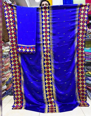 New African Trendy Silk Satin Party Wear Embroidery Design Dress Materials For Women