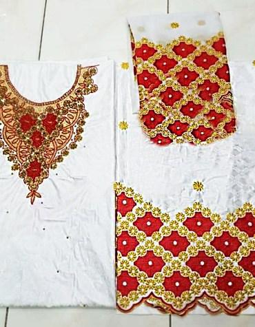 Designer Party Wear 100% Super Magnum Gold Getzner Bazin Dress Material For Women